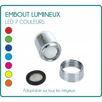Embout lumineux à LED pour mitigeur robinet 7 couleurs