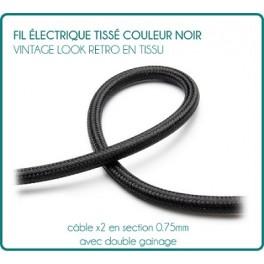 Black vintage look retro fabric woven wire