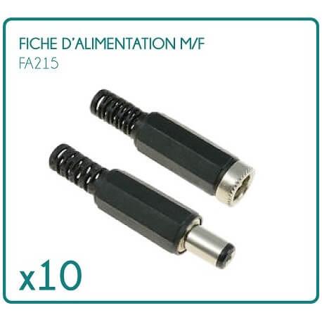 lot de 5 fiches d'alimentations m/f type PCM10 pour 12/24V