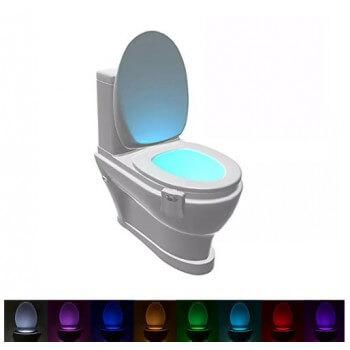 Illuminazione a LED 8 colori per WC con rilevatore di movimento per vasca, sedile WC, lavabo