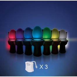 Pack of 3 led lights 8couleurs for WC motion for Bowl, seat toilet, washbasin