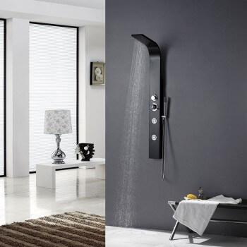 Columna de ducha Balneo A132 negro 130X13cm aluminio