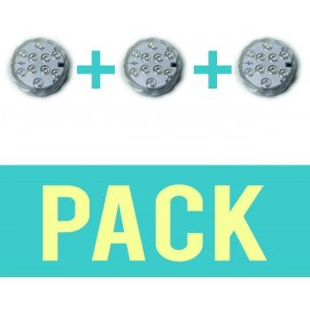 Pack de 3 Spots submersibles lumières LED ip68 environnement humide controllable à distance 16 couleurs
