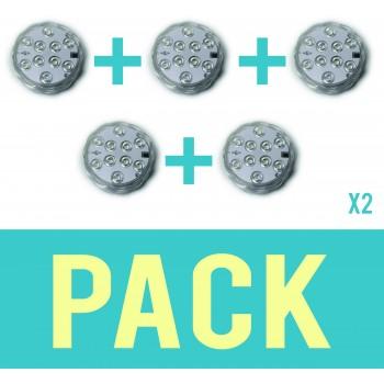Pack de 10 Spots submersibles lumières LED ip68 environnement humide controllable à distance 16 couleurs