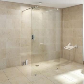 Assise pliable étanche  en ABS blanc pour douche à l'italienne, hammam etc