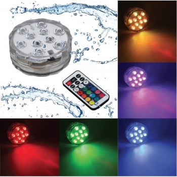Spot submersible lumière LED ip68 tout environnement humide controllable à distance 16 couleurs 4 programmes de défilement