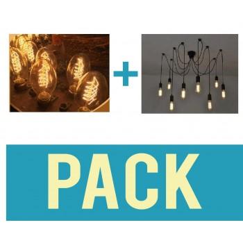 Pack Plafonnier avec 10 ampoules BT55 vintage suspendu look retro DIY 8 douilles E27