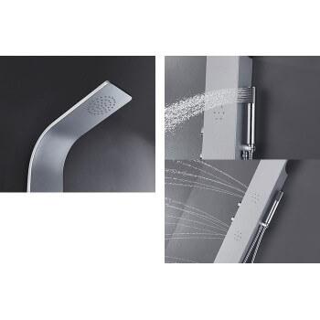 Duschsäule (1300 mm x 180 mm) aus silbernem Aluminium für Duschkabine Dusche oder Wanne Badezimmer Hammam Spa Sauna Wellness