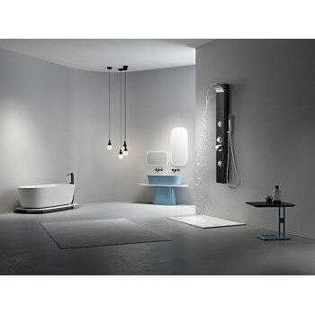 Colonne de douche balnéothérapie (1250mmx170mm) en alliage d'aluminium noir peinture noire