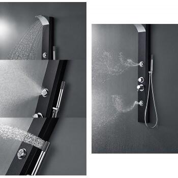 Balneo Duschsäule 125Cmx 170Cm aus schwarzem Aluminium für Duschkabine Dusche oder Wanne Badezimmer Hammam Spa Sauna Wellness