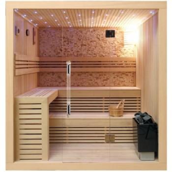 Sauna cabin in Canada wood 220 × 200 × 210cm glass 8mm natural stone walls