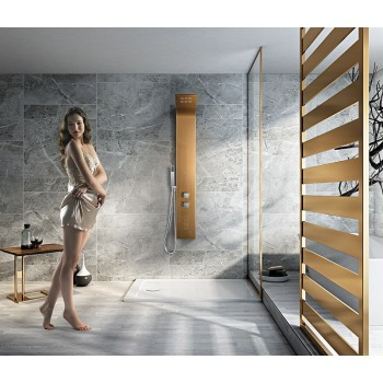 Rose Gold multifunction shower column brushed 130 x 18 cm S501