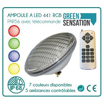 Light bulb led par56 to pool colors 35 W 441 led remote control