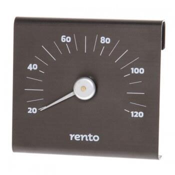 RENTO Thermometer aus schwarz gebürstetem Aluminium für SAUNA