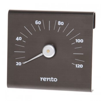 RENTO thermometer black brushed aluminium for SAUNA