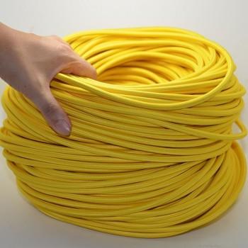 Fil électrique tissé de couleur jaune vintage look retro en tissu