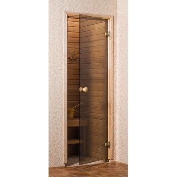 Porte de Sauna en verre sécurite 8 mm cadre en pin 70 x 190 bronze