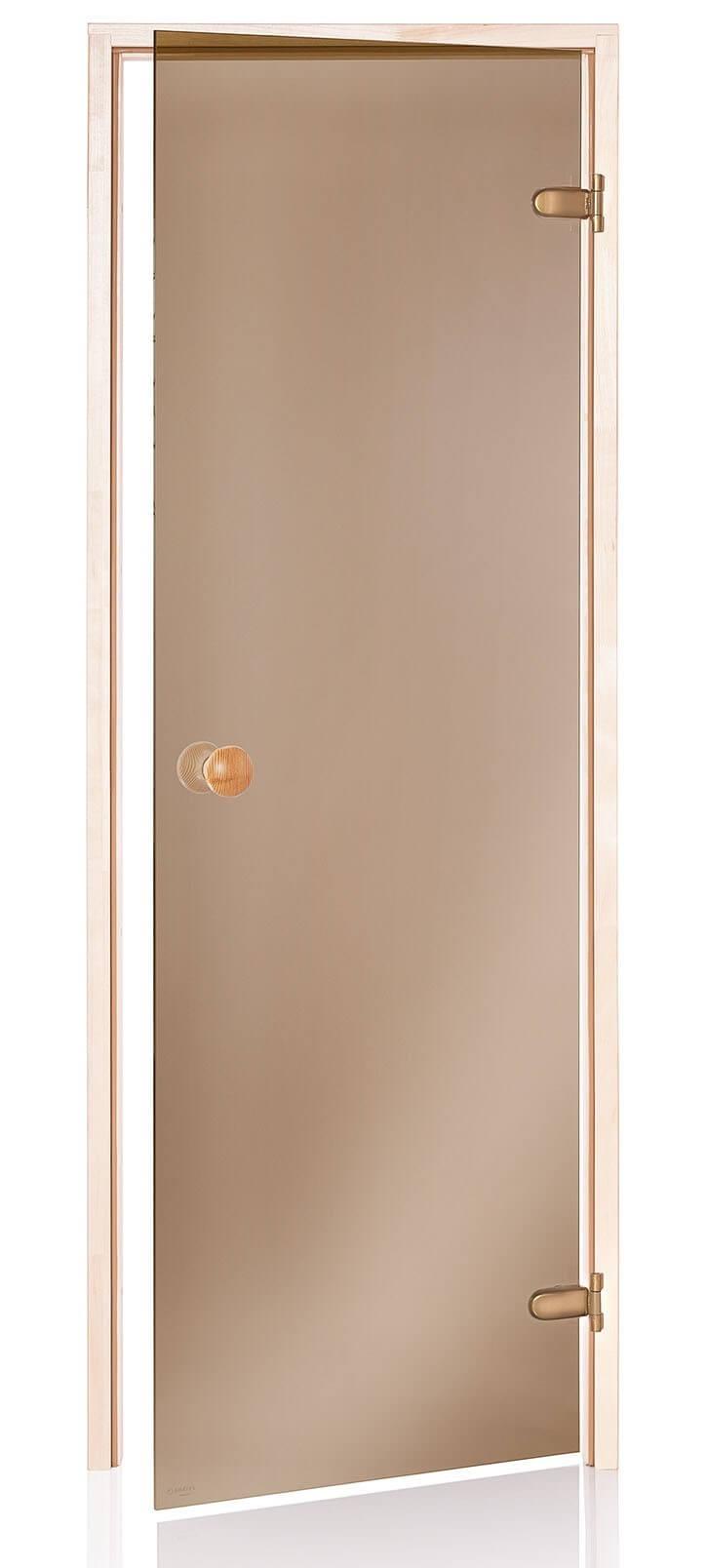 Desineo Porte de Sauna en Verre s/écurite 8 mm Cadre en pin 70 x 190 Bronze