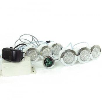 Spot RGB ip68 etanche encastrable + bouton de contrôle et transformateur pour hammam et salle de bain