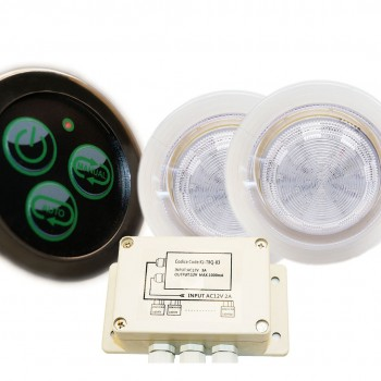 Kit Spots 110 mm o RGB ip68 waterproof built-in + button, spots control system and transformer