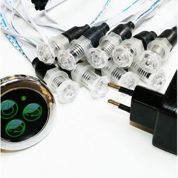 lot de 9 luminaires chromothérapie étanche ip 68 12V pour tous milieux humides