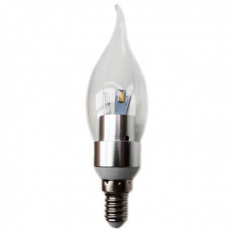 3 w E14 white LED bulb neutral flame shape