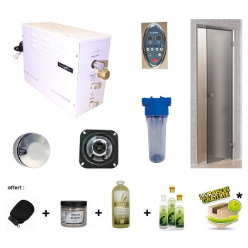 Steamplus Hammam Kit with door and accessories