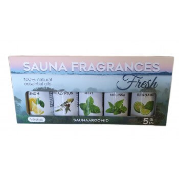 """Pack of 5 essential oils 100% for Sauna """"Fresh"""" (5 x 15 ml)"""