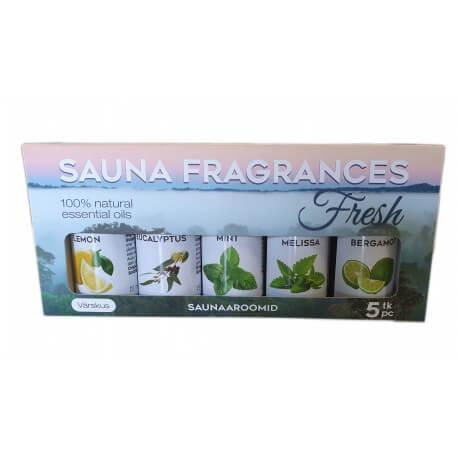 Aromas Emendo Sauna 4 x 10 ml + wall shelf