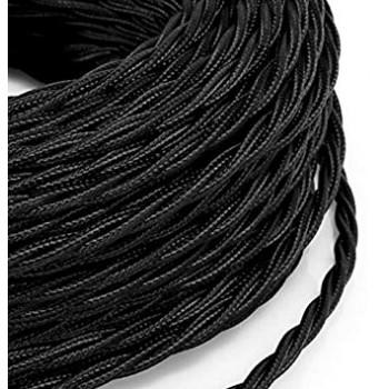 Vintage negro trenzado alambre eléctrico aspecto retro en tela (por metro)
