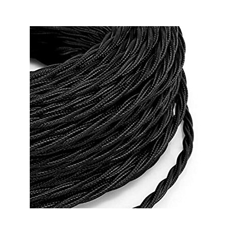 Vintage black braided electrical wire look retro in fabric (per metre)