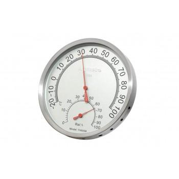 Thermomètre hygromètre pour hammam sauna en aluminium couleur inox