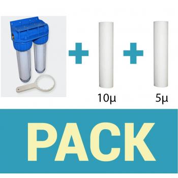 Pack de filtration d'eau porte filtre plus 2 filtres anti sédiment 20 microns thermosoudée