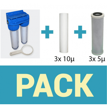 Pack water filter door double filter + 50 and 20 Micron sediment filter