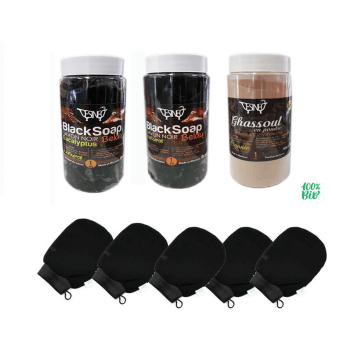 Pack Hammam body care: 5 kessa gloves + 1 black SOAP + 1 ghasoul powder for Hammam and sauna