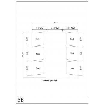 6-seater PRO PREMIUM steam room cabin complete 190 x 190 x 225 cm in acrylic - Desineo door and windows