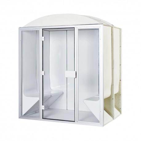 Cabine de hammam 4 places complète en acrylique + porte et vitres 190 x 130 x 225 cm pret à monter desineo