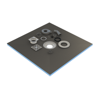 listo para azulejo con sifón + parrilla acero inoxidable plato de 90x90x4cm