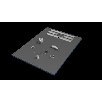 Receveur de douche 120x90x3 cm écoulement linéaire prêt à carreler avec siphon + grille en inox
