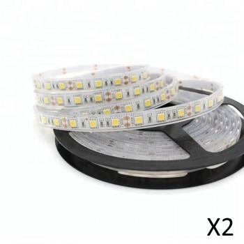 Lot de 2 Rubans à LED 5m Blanc chaud immergeable IP68 (avec transformateur 12V)