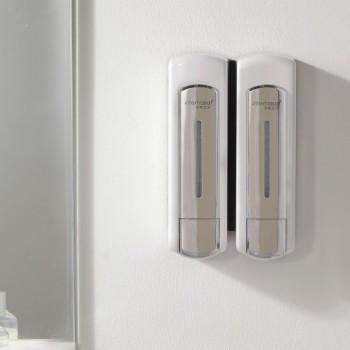 Double distributeur de savon et shampoing 2 x 300 ml chromé opaque économique et ergonomique