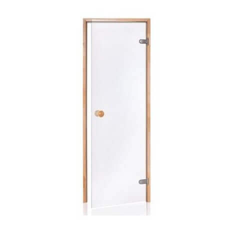 Porte de Sauna en verre sécurite 8 mm cadre en pin 80 x 190 transparente