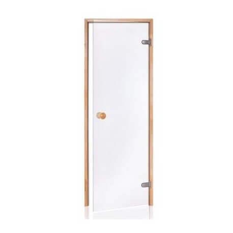 Puerta de sauna de cristal segura de 8 mm en marco de pino transparente de 80 x 190