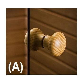 Porta sauna in vetro sicura da 8 mm in cornice di pino trasparente 90 x 190