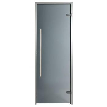 Porte pour Hammam premium 80 x 190 cm poignée verticale teinté gris