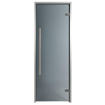 Tür für Hammam Premium 80 x 190 cm vertikaler Griff getönt grau