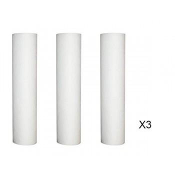 Lote de 3 recargas anti-sedimento 50 micras para puerta de filtro 9-3/4 - 10 pulgadas
