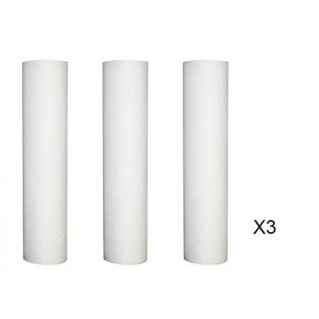 Lot of 3 refills anti-sediment 50 microns for filter door 9-3/4 - 10 inches