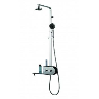 Inox 2 cabezas con con lluvia tropical y columna de ducha de vapor