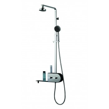 Inox 2 heads features tropical rain and mist shower column
